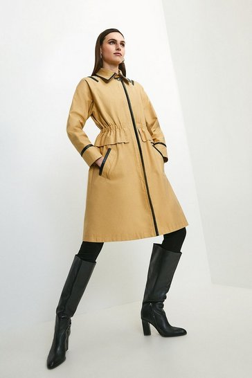 Stone Pu Detail Peplum Trench Coat