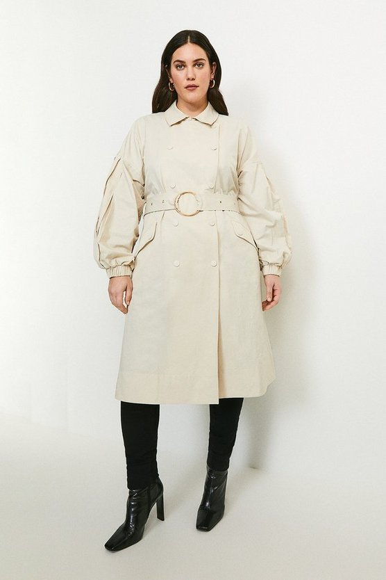 Stone Curve Puff Sleeve Belted Trench Coat