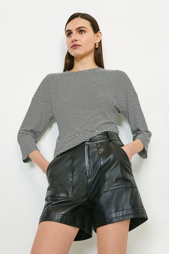 Black Stripe Ribbed Jersey Batwing Top