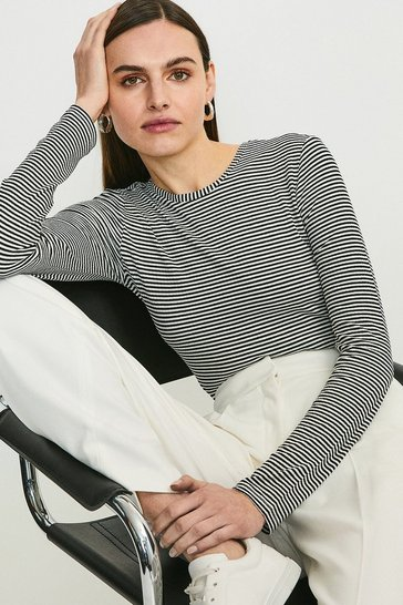 Black Stripe Ribbed Jersey Body