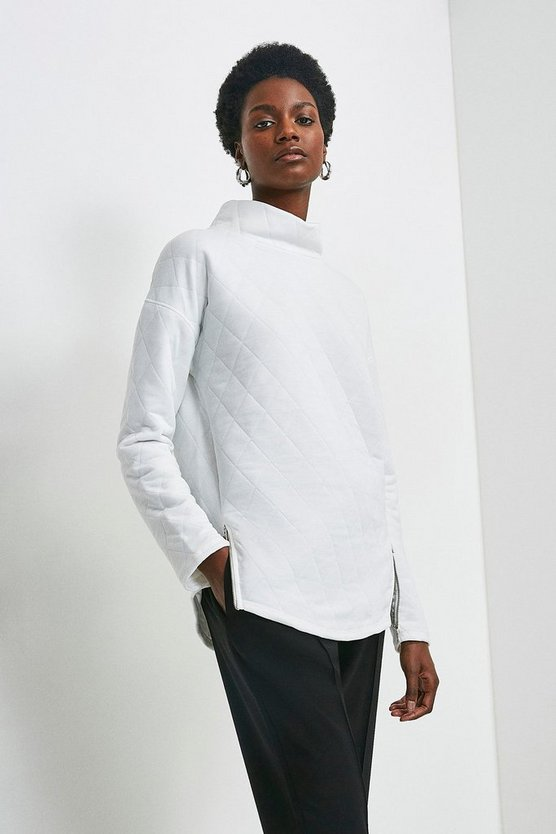 Ivory Funnel Neck Quilted Zip Jersey Top
