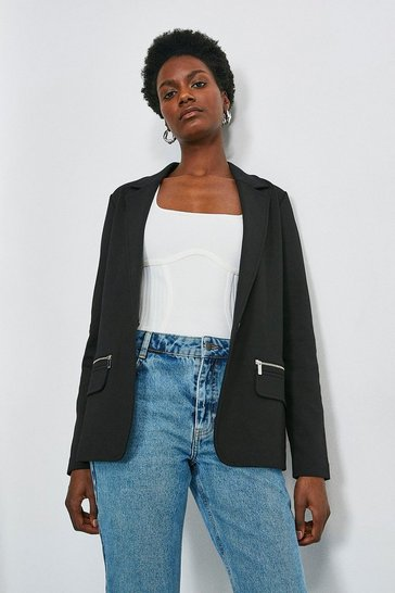 Black Relaxed Jersey Blazer Jacket