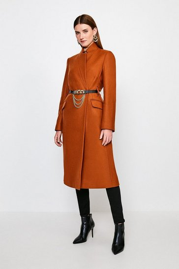 Rust Investment Notch Neck Chain Belt Coat