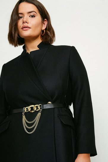 Black Curve Investment Notch Neck Chain Belt Coat