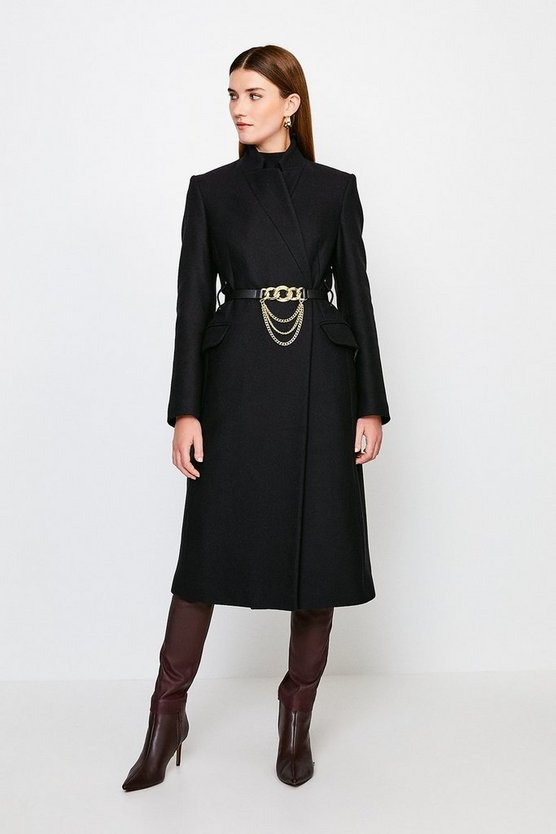 Black Investment Notch Neck Chain Belt Coat