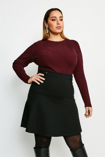 Black Curve Rivet Detail Ponte Mini Skirt