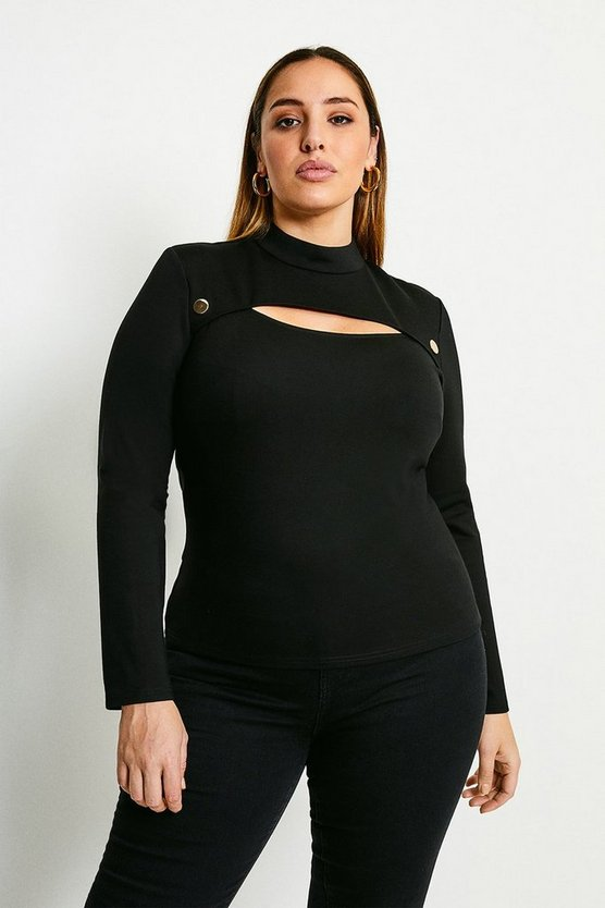 Black Curve Rivet And Cut Out Funnel Neck Ponte Top