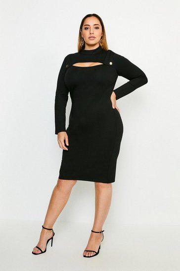 Black Curve Rivet And Cut Out Ponte Dress