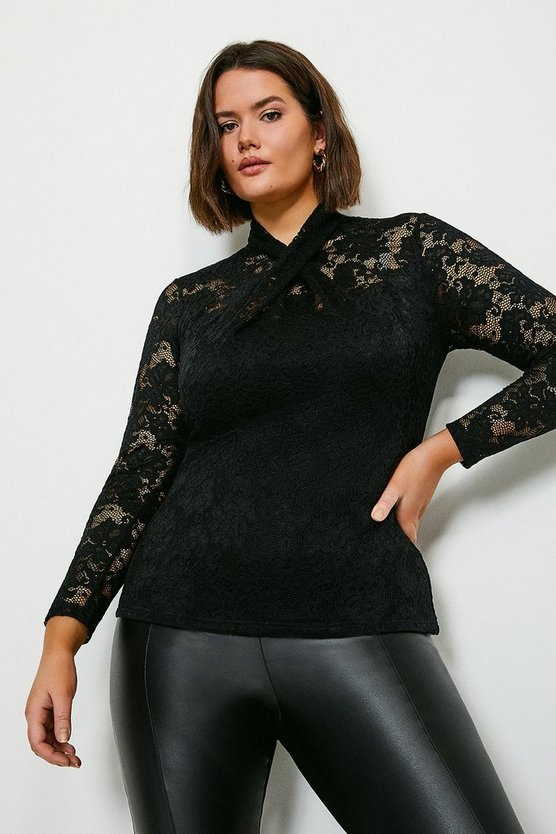 Black Curve Twist Neck Stretch Lace Jersey Top