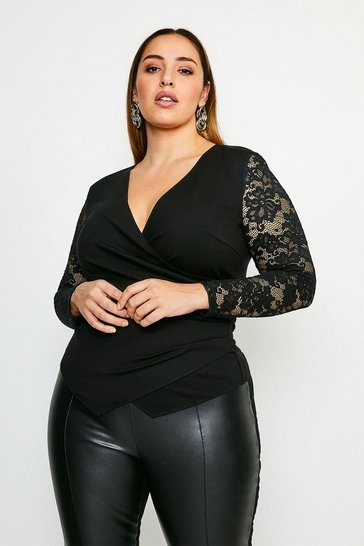 Black Curve Lace Sleeve Wrap Ponte Top