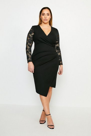 Black Curve Lace Sleeve Wrap Ponte Dress