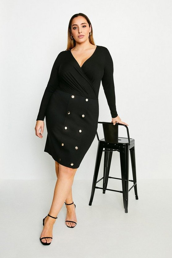 Black Curve Military Wrap Front Jersey Dress