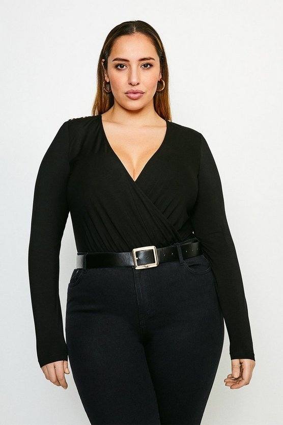 Black Curve Military Wrap Front Jersey Body