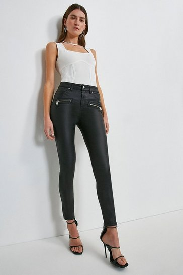 Black Coated Zip Pocket Skinny Jean