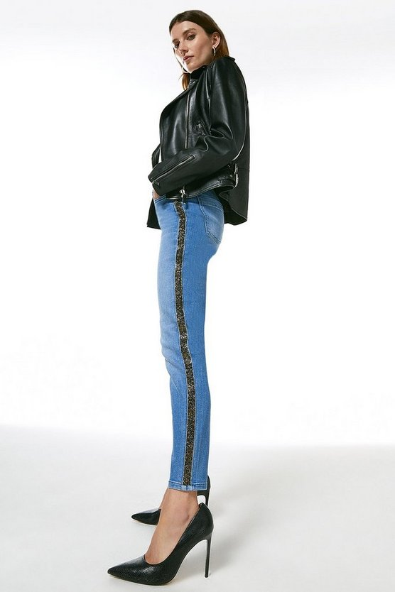 Light wash Glitter Side Skinny Jean