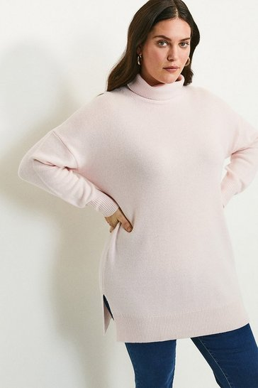 Blush Curve Cashmere Roll Neck Jumper