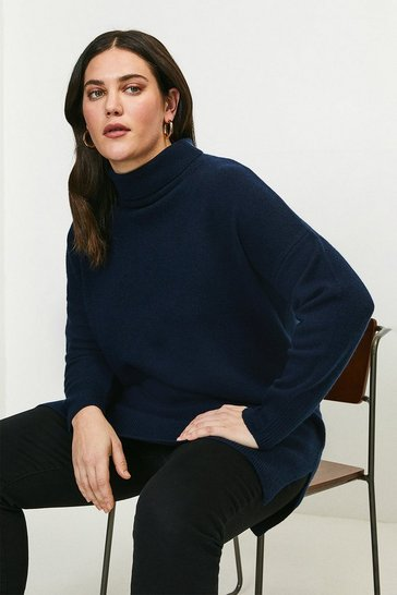 Navy Curve Cashmere Roll Neck Jumper