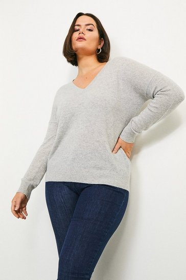 Light grey Curve Cashmere V Neck Jumper
