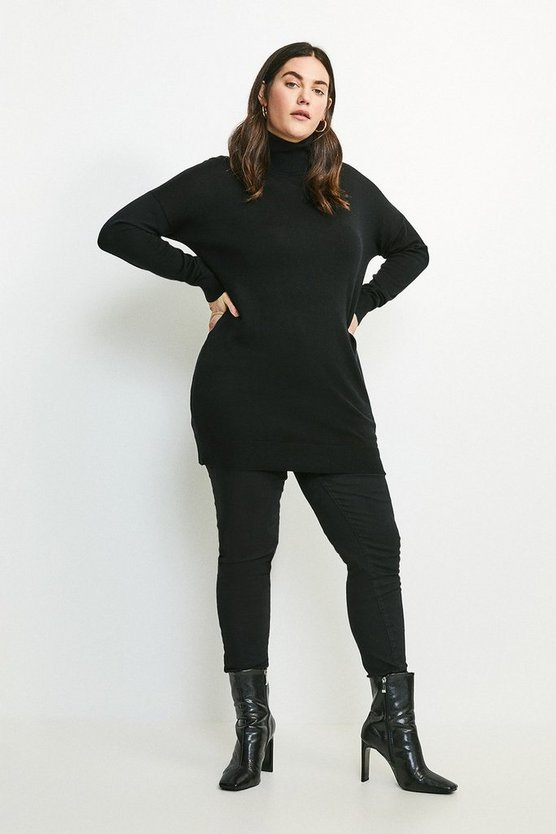 Black Curve Merino Wool Roll Neck Longline Jumper