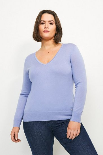 Blue Curve Merino Wool V-Neck Jumper