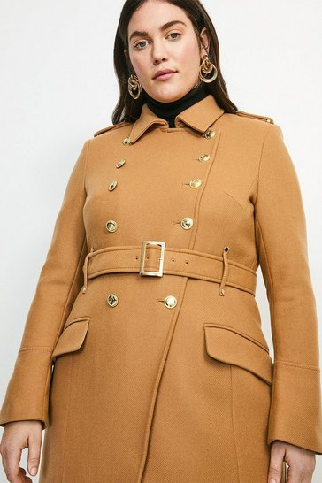 Camel Curve Italian Wool Blend Trench Coat