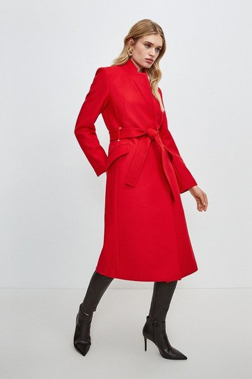 Red Investment Notch Neck Coat