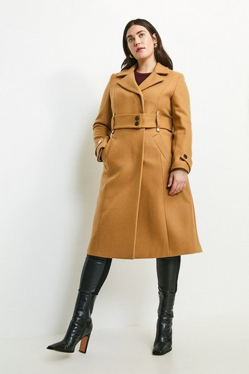 Camel Curve Minimal Military Wool Blend Coat