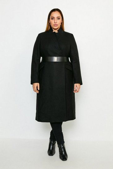 Black Curve Hardware Belted Italian Wool Blend Coat