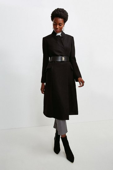 Black Hardware Belted Italian Wool Blend Coat