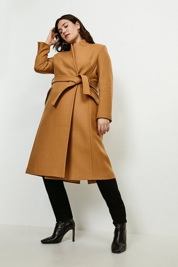 Camel Curve Investment Notch Neck Rivet Coat