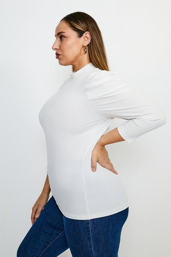 White Curve Tucked Shoulder Rib Top