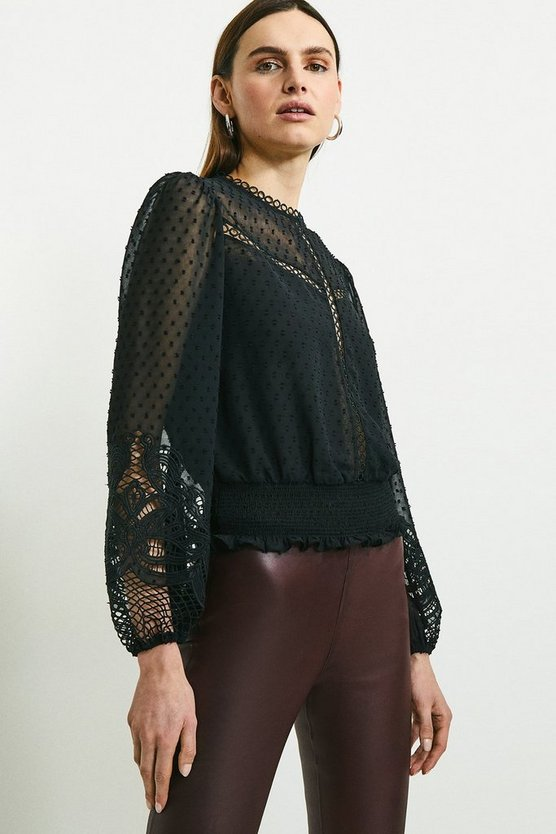 Black Cutwork Sleeve Detail Blouse
