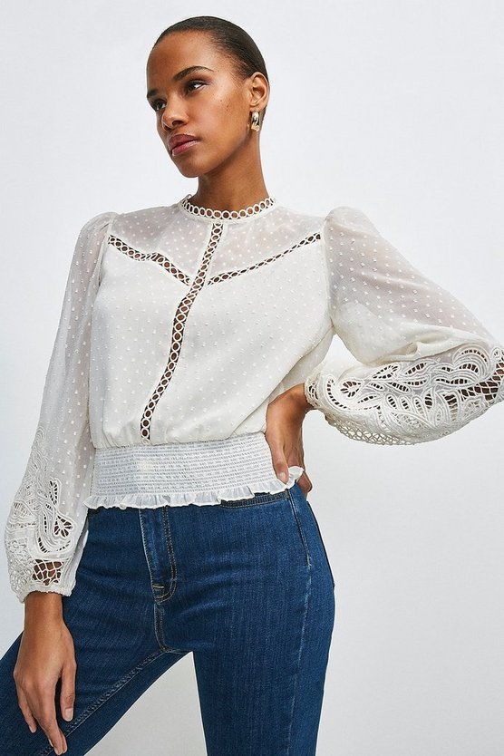 Champagne Cutwork Sleeve Detail Blouse