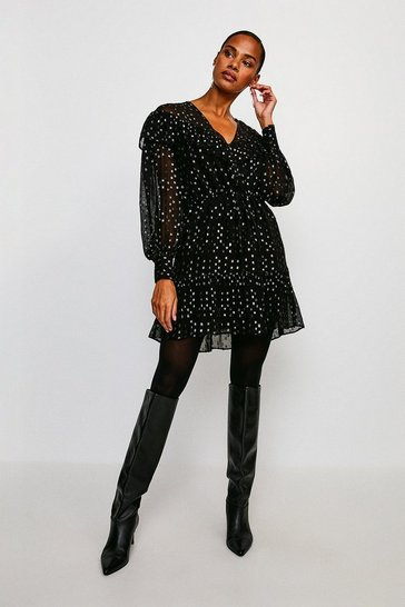 Black Ruffle Sparkle Jacquard Dress