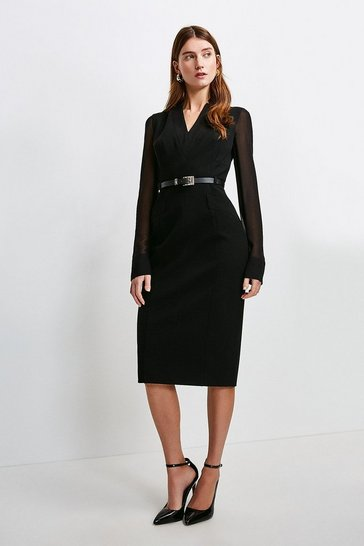 Black Sheer Sleeve Forever Dress