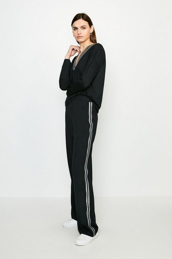 Black Viscose Jersey Lounge Glitter Tape Wide Leg Pant