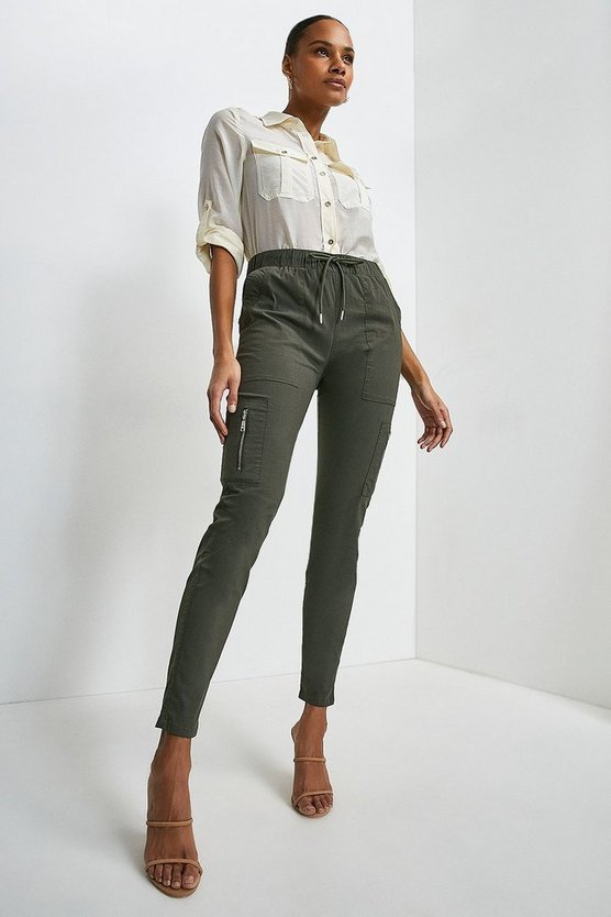 Khaki Zip Side Pull On Cargo Trouser