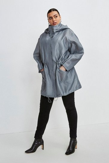 Pewter Curve Luxe Organza Parka Coat