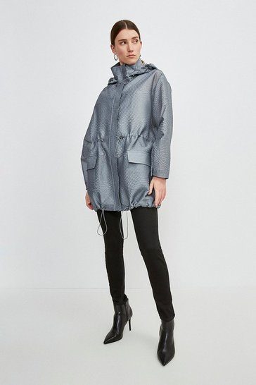 Pewter Luxe Organza Parka Coat