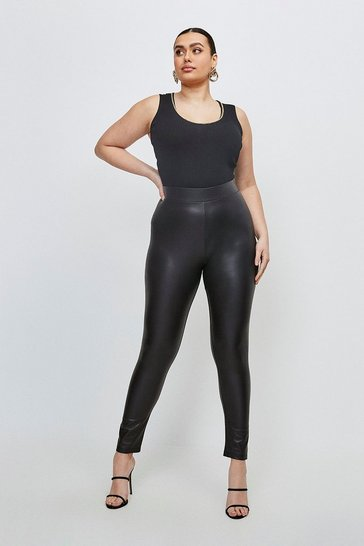 Curve Black Faux Leather Jersey Leggings
