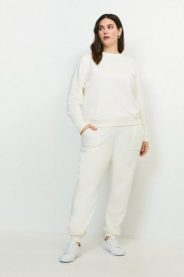 Cream Curve Lounge Diamante Jersey Jogger
