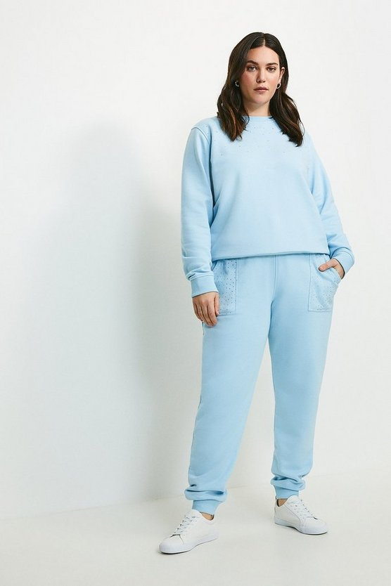 Dusty blue Curve Lounge Diamante Jersey Jogger