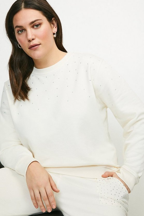 Cream Curve Lounge Diamante Jersey Sweatshirt