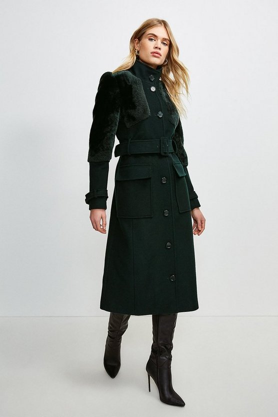 Dark green Sheepskin Panelled Belted Coat