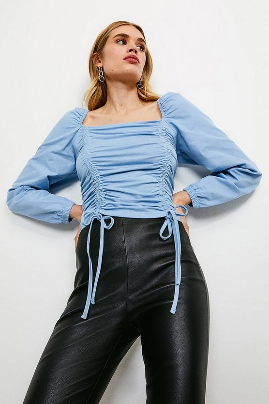Blue Ruched Tie Long Sleeve Jersey Top