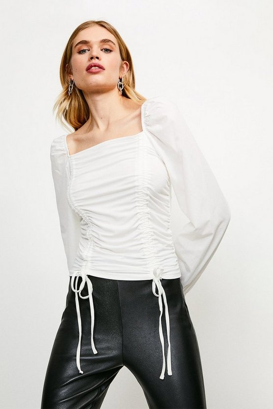 Ivory Ruched Tie Long Sleeve Jersey Top