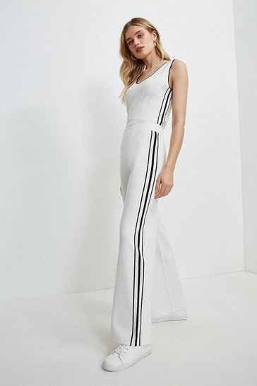 Cream Stripe Trim Milano Knit Trouser