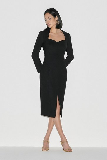 Black Italian Stretch Wool Sleeved Dress
