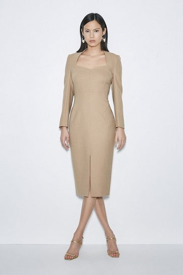 Camel Black Label Italian Stretch Wool Sleeved Dress