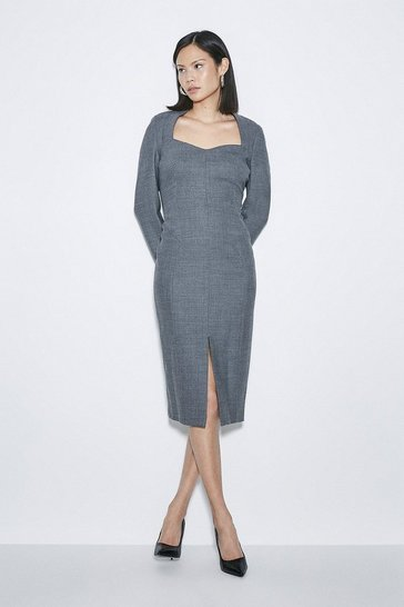 Grey Black Label Italian Stretch Wool Sleeved Dress